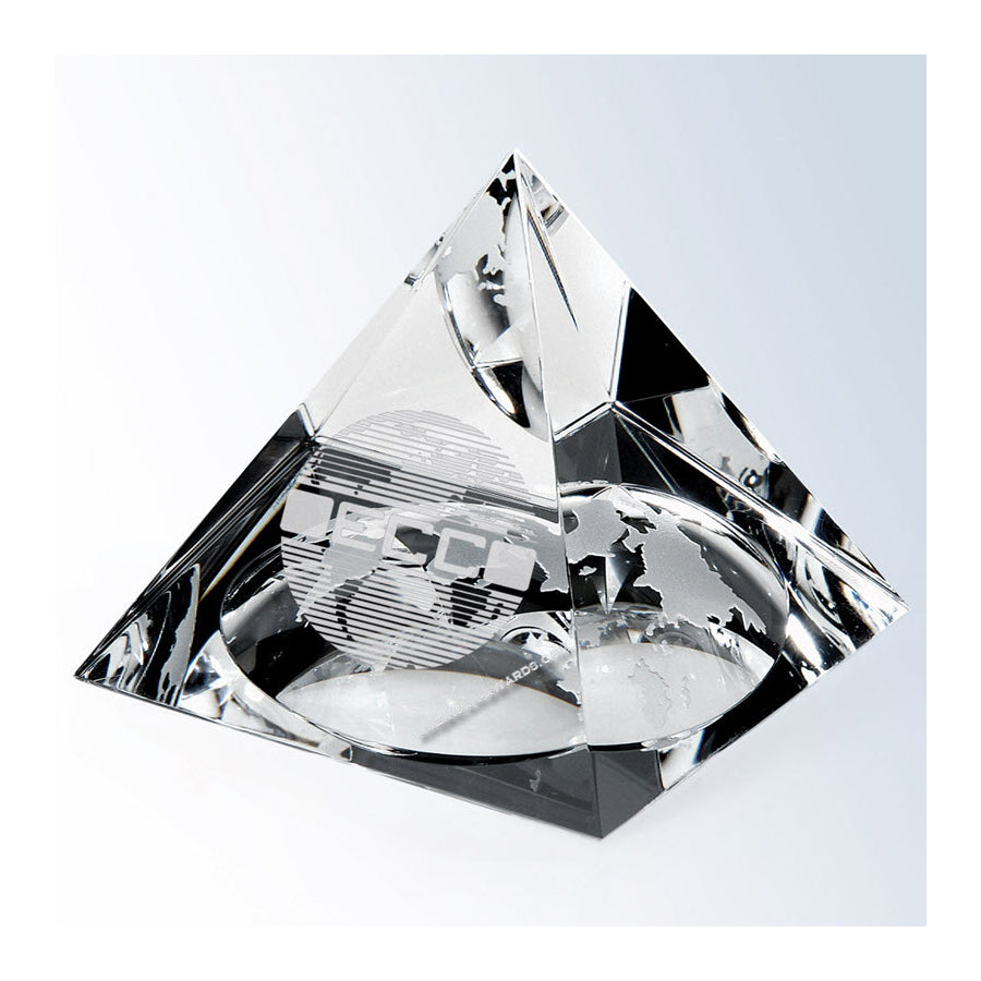 C470G Optic Crystal World Globe Pyramid  - American Trophy & Award Company - Los Angeles, CA 90022
