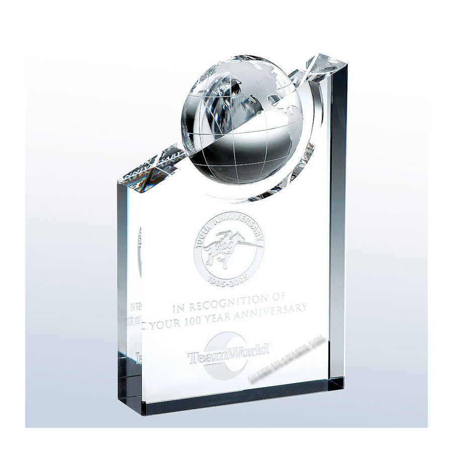 C583 World Globe Pinnacle Crystal Award - American Trophy & Award Company - Los Angeles, CA 90022