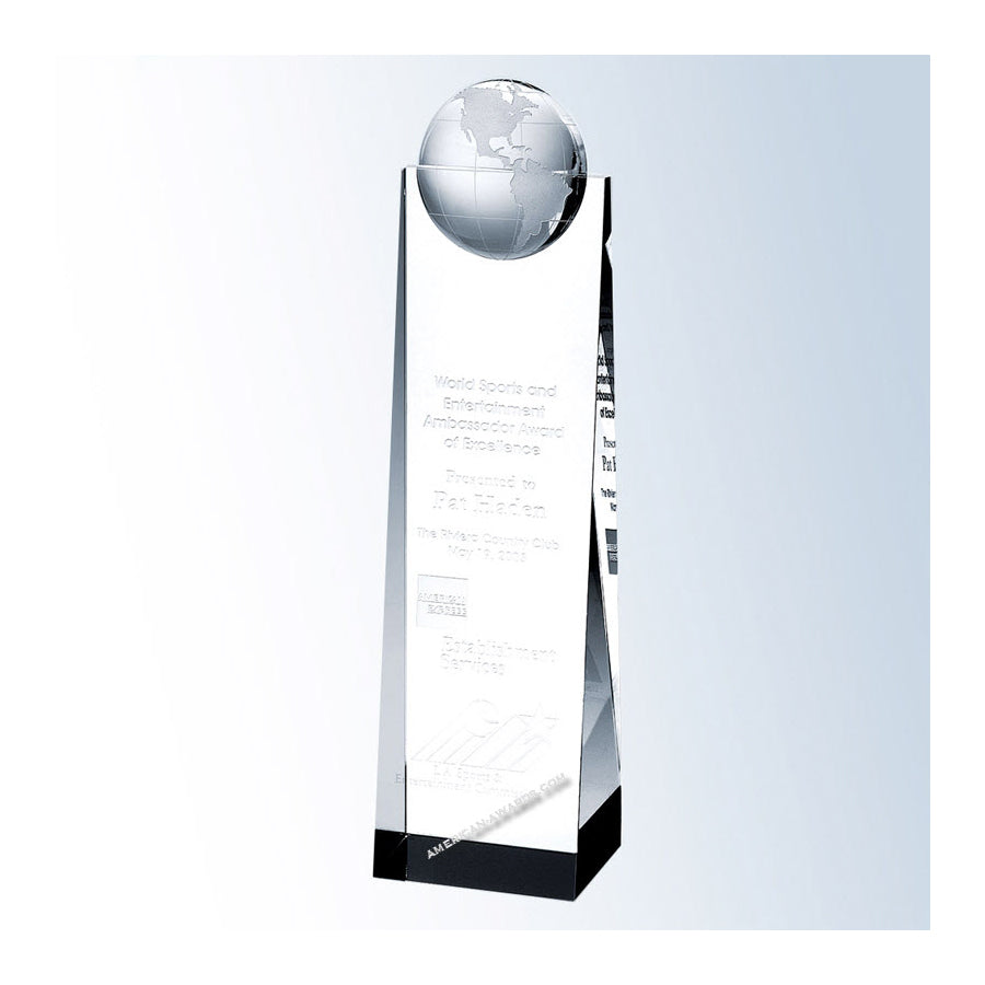 C586 Crystal Globe Tower Award - American Trophy & Award Company - Los Angeles, CA 90022