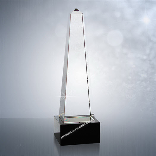 CM30 Optic Crystal Obelisk on base Award - American Trophy & Award Company - Los Angeles, CA 90022