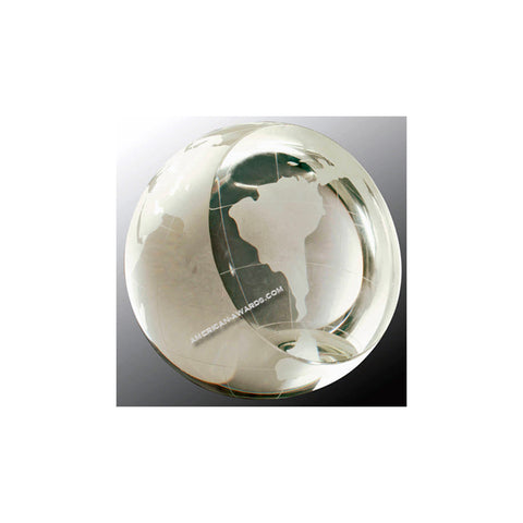 CRY66 Crystal World Globe Paperweight