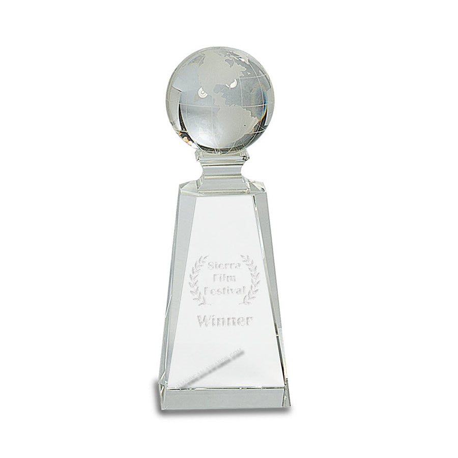 CRY116 Optic Crystal World Globe on tapered base - American Trophy & Award Company - Los Angeles, CA 90022