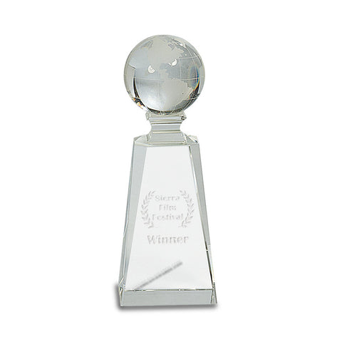 CRY116 Optic Crystal World Globe on Tapered Base