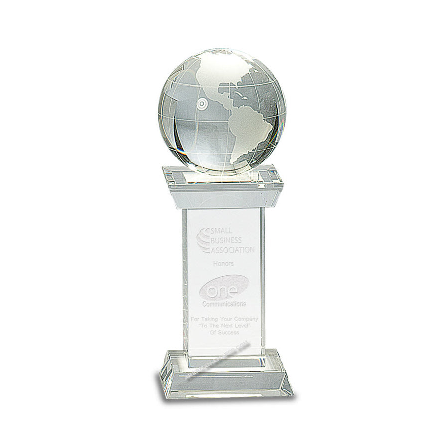 CRY159 Crystal Globe on Tower Award - American Trophy & Award Company - Los Angeles, CA 90022