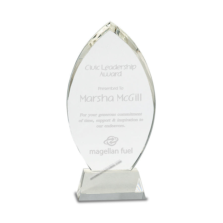 CRY164 Optic Crystal Flame Award - American Trophy & Award Company - Los Angeles, CA 90022