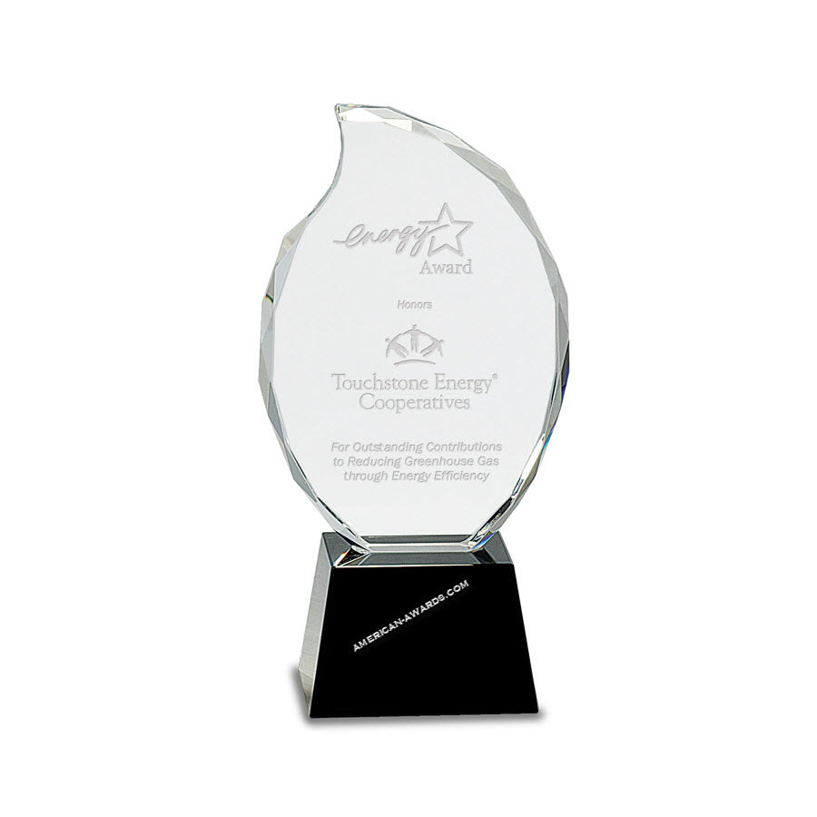 CRY309 Optic Crystal Flame Award - American Trophy & Award Company - Los Angeles, CA 90022