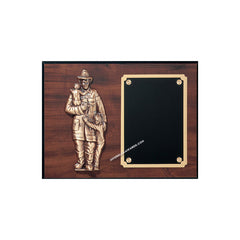 FP945  Walnut-finish Fireman Award Plaque - American Trophy & Award Company - Los Angeles, CA 90022