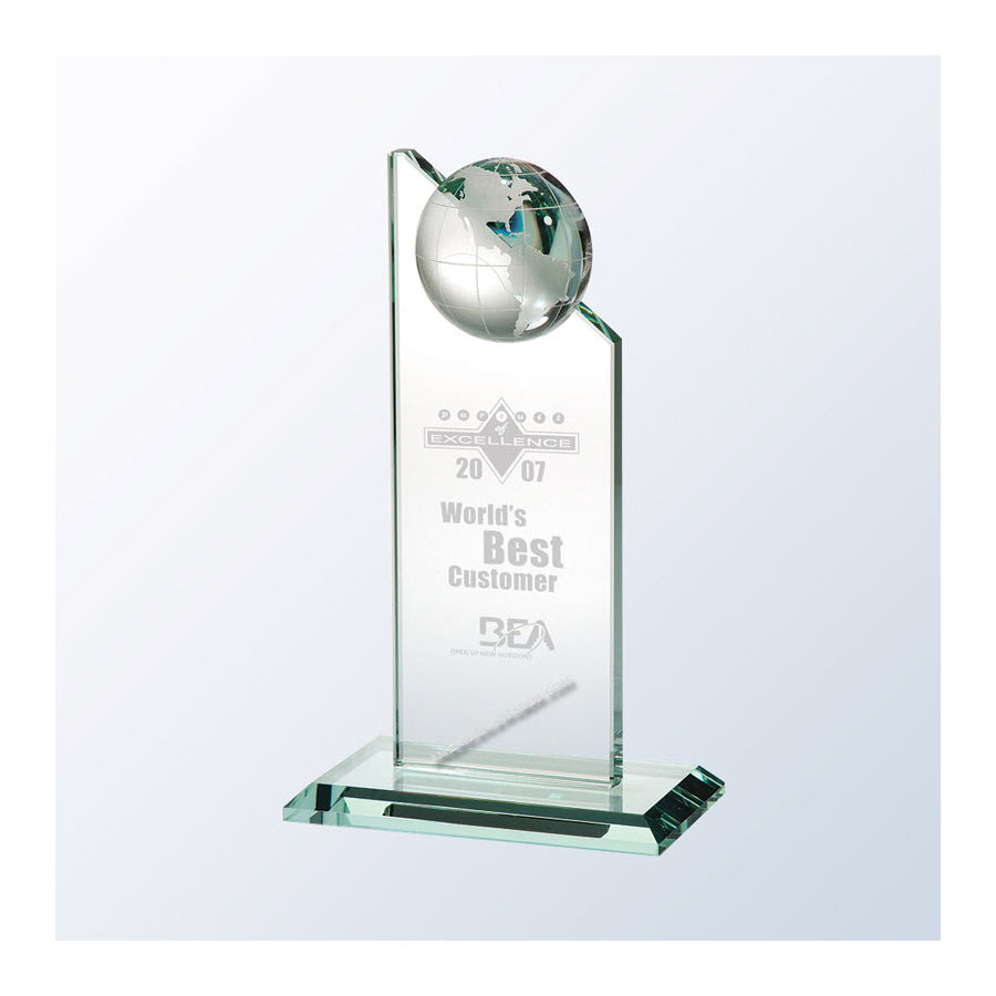 GPE03 Jade Glass World Globe Pinnacle Award - Los Angeles, CA 90022