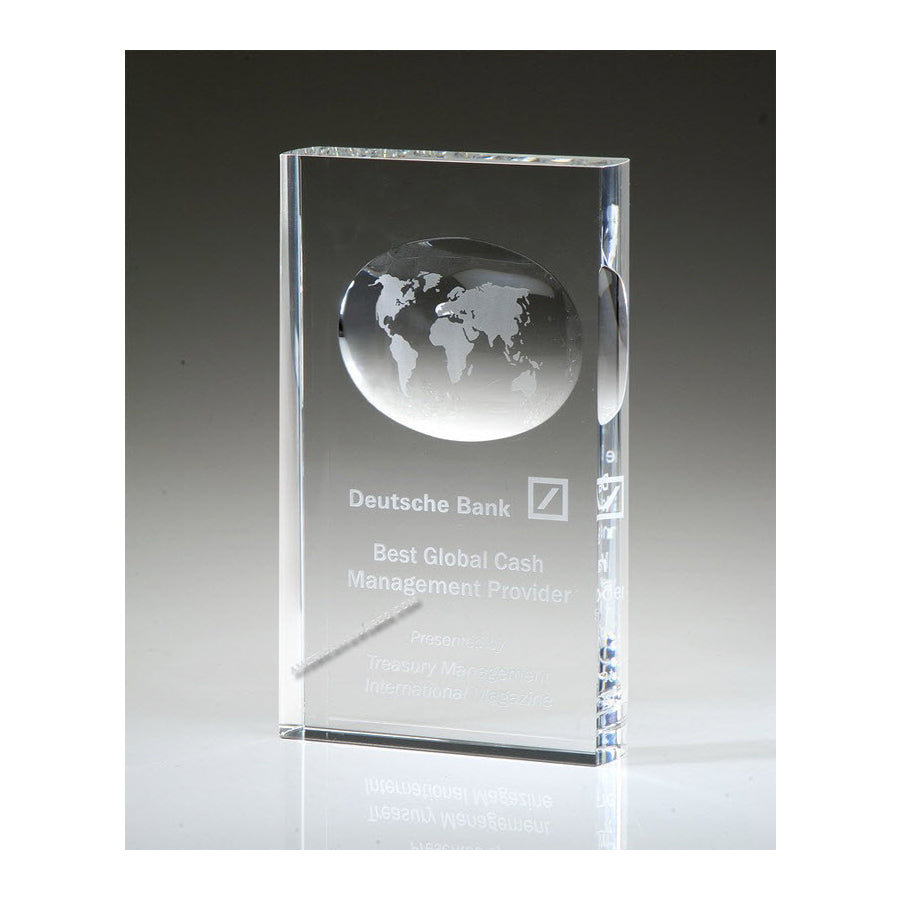 OCGL39 Optic Crystal Illusion World Globe Award - American Trophy & Award Company - Los Angeles, CA 90022