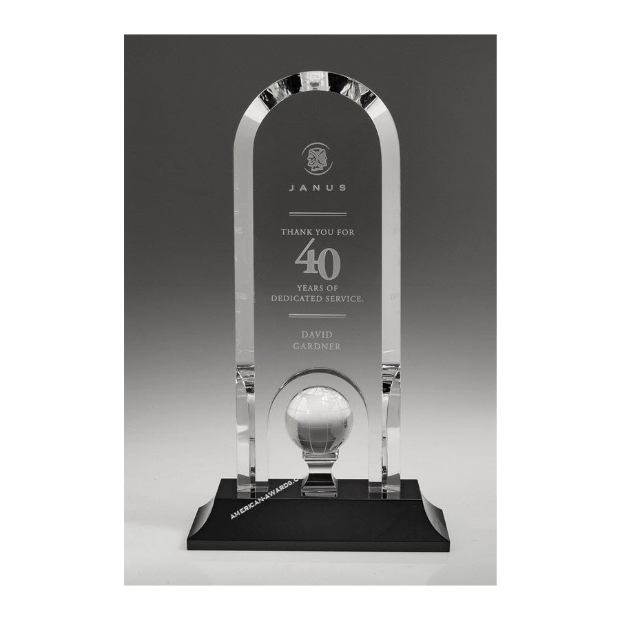 OCGL9010 Optic Crystal Optima Globe Trophy - American Trophy & Award Company - Los Angeles, CA 90022