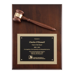 P257 Genuine Walnut Gavel Mounted Award Plaque - American Trophy & Award Company - Los Angeles, CA 90022