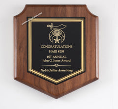 P688 Genuine Walnut Shield Award Plaque - American Trophy & Award Company - Los Angeles, CA 90022