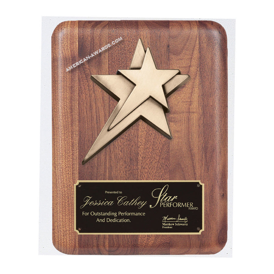 PC528 Genuine Walnut Bronze Star Plaque - American Trophy & Award Company - Los Angeles, CA 90012