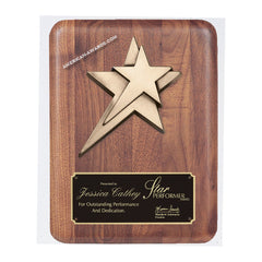 PC528 Genuine Walnut Bronze Star Award Plaque - American Trophy & Award Company - Los Angeles, CA 90022