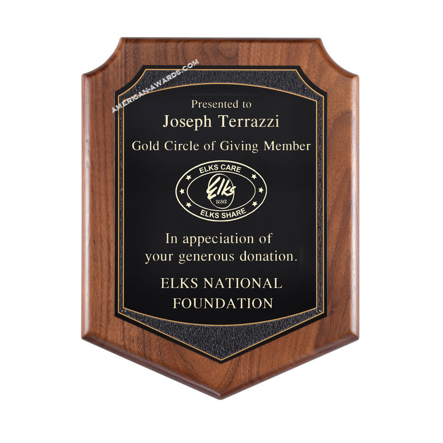 PC614 Genuine Walnut Shield Plaque - American Trophy & Award Company - Los Angeles, CA 90022