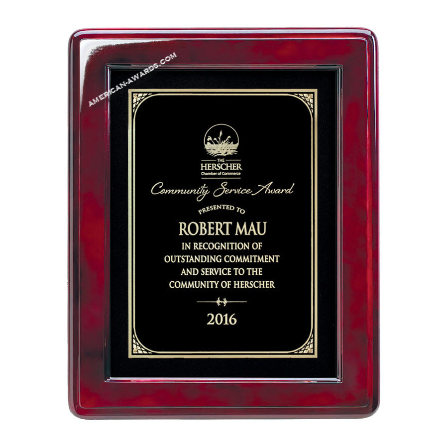 RF334B Rosewood-finish Award Plaque - American Trophy & Award Company - Los Angeles, CA 90012
