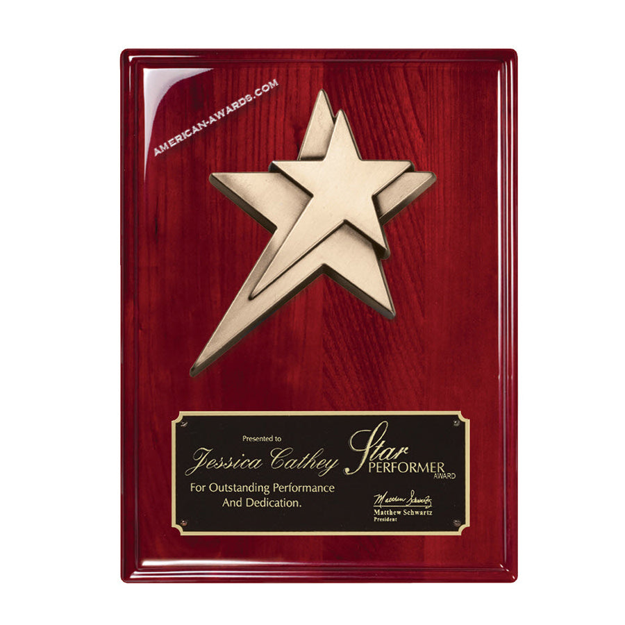 RP228 High Gloss Rosewood finish Star Award Plaque - American Trophy & Award Company - Los Angeles, CA 90022