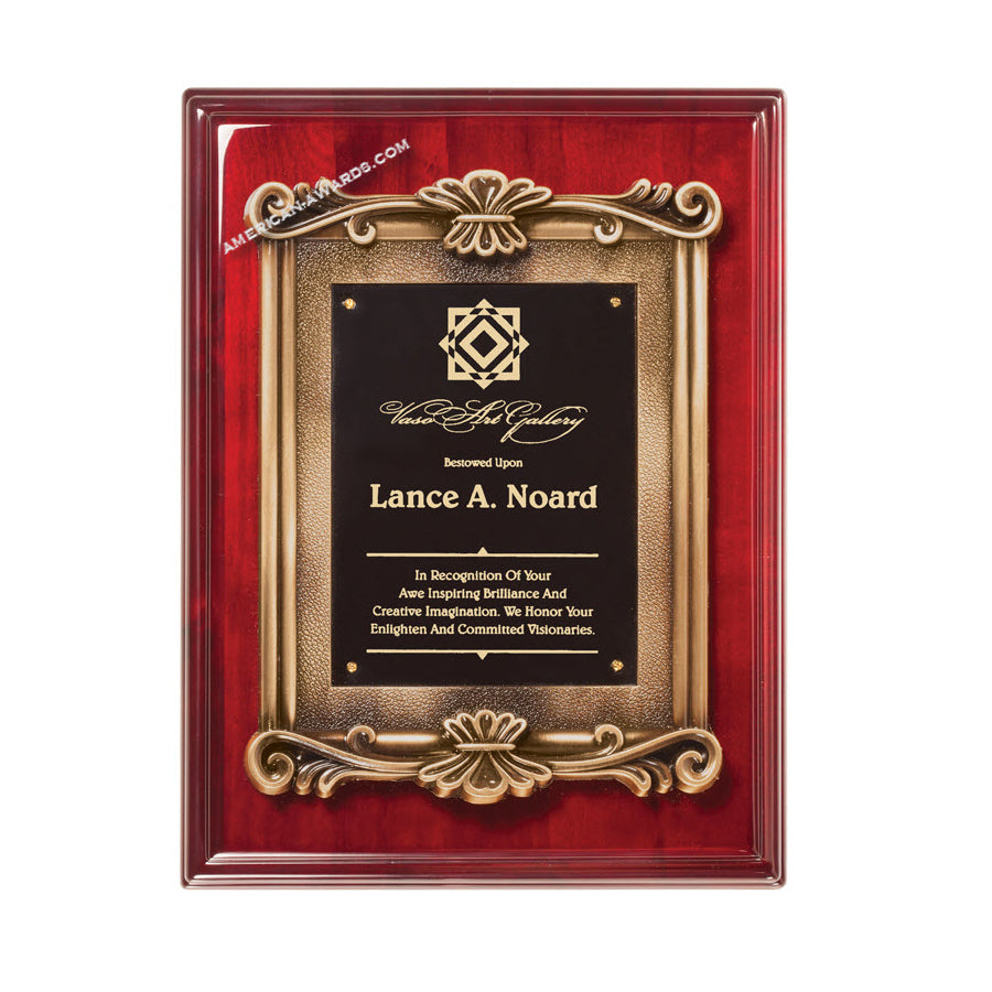 RP234 High Gloss Rosewood finish recognition plaque - American Trophy & Award Company - Los Angeles, CA 90022