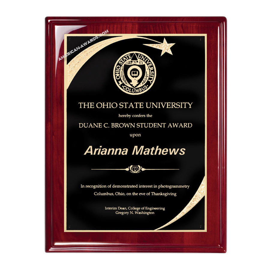 RP238 High Gloss Rosewood finish recognition plaque - American Trophy & Award Company - Los Angeles, CA 90022