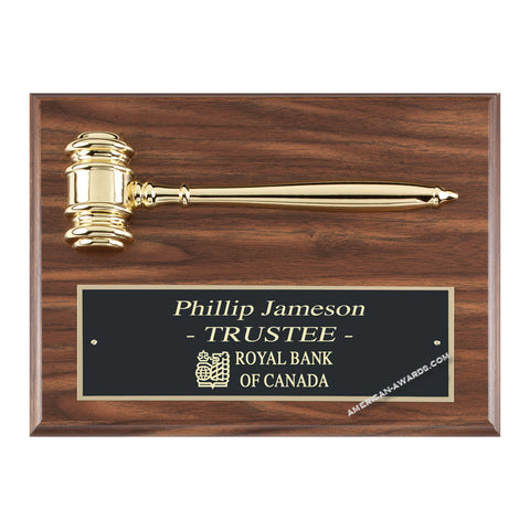 WF100 | Walnut Finish Gavel Plaque