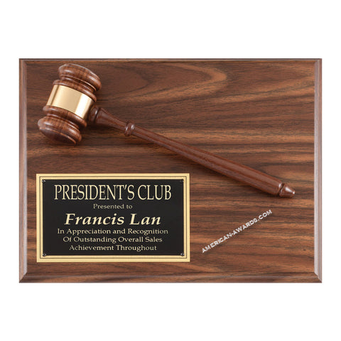 WF104 | Walnut Finish Gavel Plaque