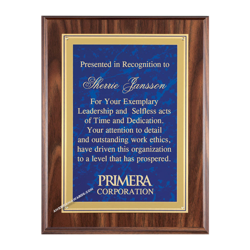 WF629 Walnut finish recognition plaque - American Trophy & Award Company - Los Angeles, CA 90022