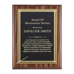 WF640 Walnut finish recognition plaque - American Trophy & Award Company - Los Angeles, CA 90022