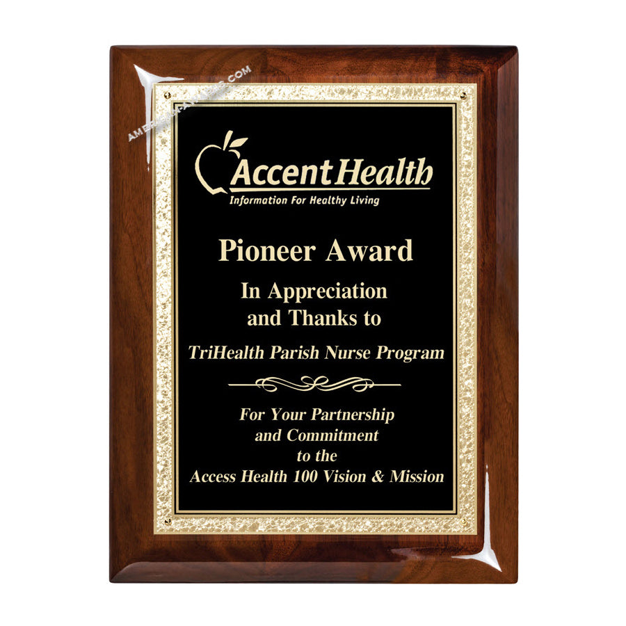 WF250 high gloss walnut finish recognition award plaque - American Trophy & Award Company - Los Angeles, CA 90022