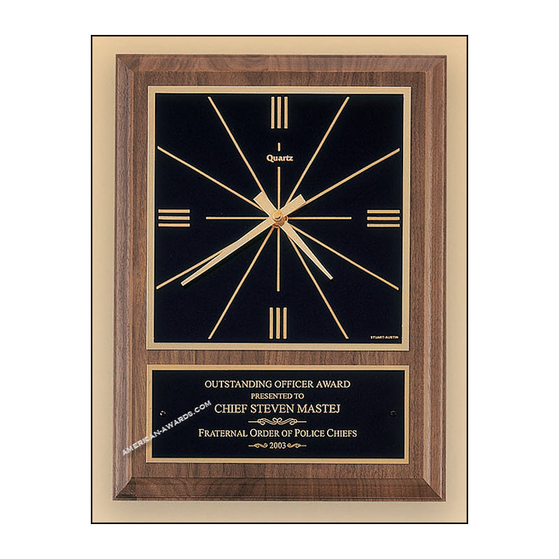BC258 Walnut Quartz Wall Clock - American Trophy & Award Company - Los Angeles, CA 90022