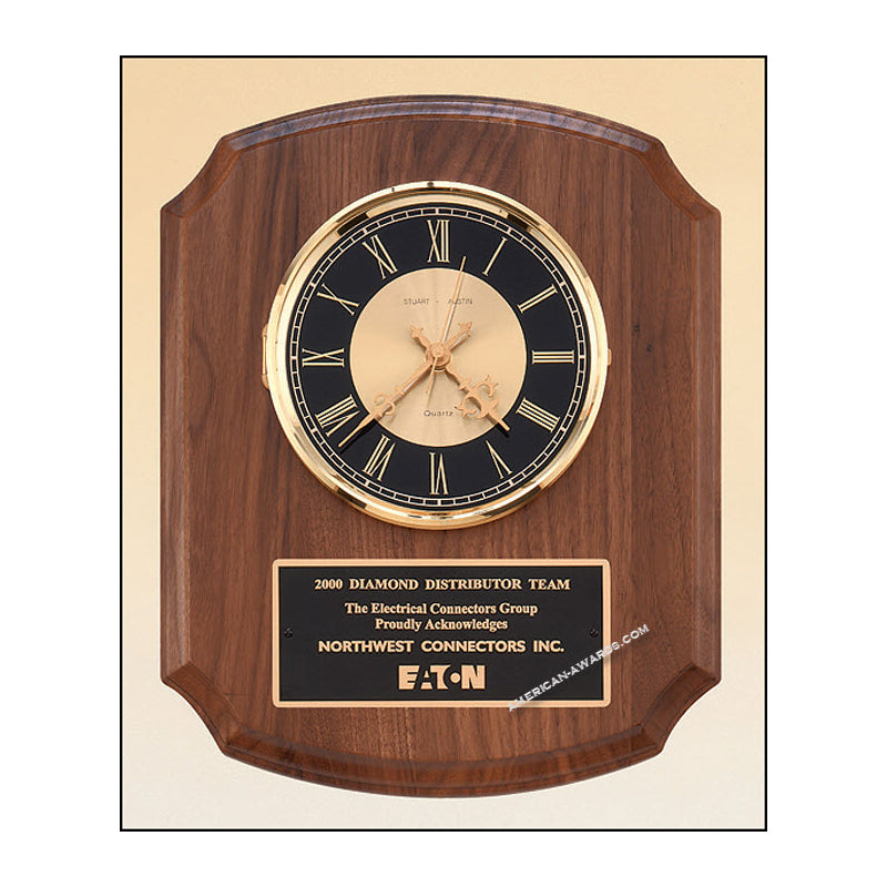 BC828 Walnut Quartz Clock Plaque - American Trophy & Award Company - Los Angeles, CA 90022