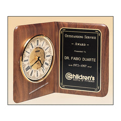 BC8 Walnut Clock Plaque - American Trophy & Award Company - Los Angeles, CA 90022