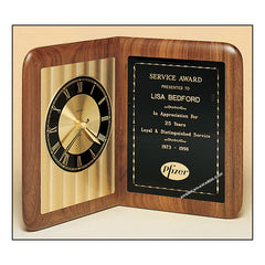 BC95 Walnut Quartz Clock Plaque - American Trophy & Award Company - Los Angeles, CA 90022