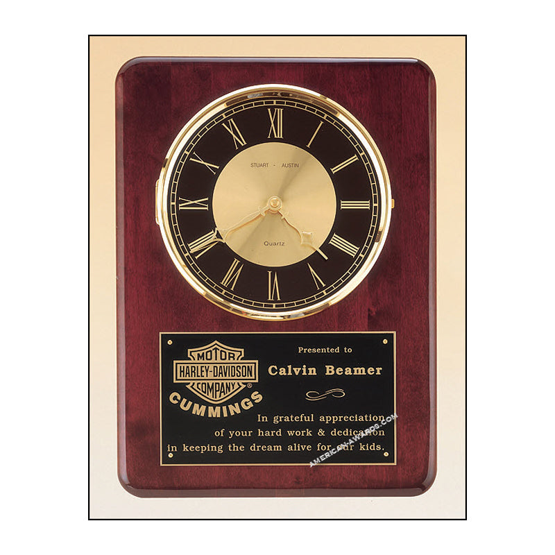 BC98 Roswood Finish Quartz Clock Plaque - American Trophy & Award Company - Los Angeles, CA 90022