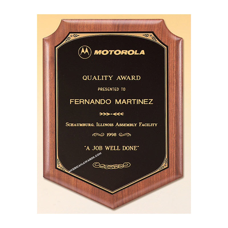 P1649 Walnut Shield Award Plaque - American Trophy & Award Company - Los Angeles, CA 90022