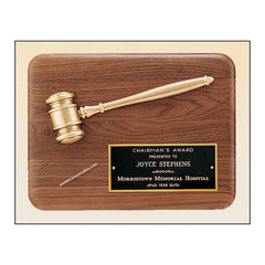 PG1686 Genuine Walnut Gavel Mounted Award Plaque - American Trophy & Award Company - Los Angeles, CA 90022