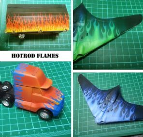 Airbrush Stencil Sticker Hotrod Flames #22