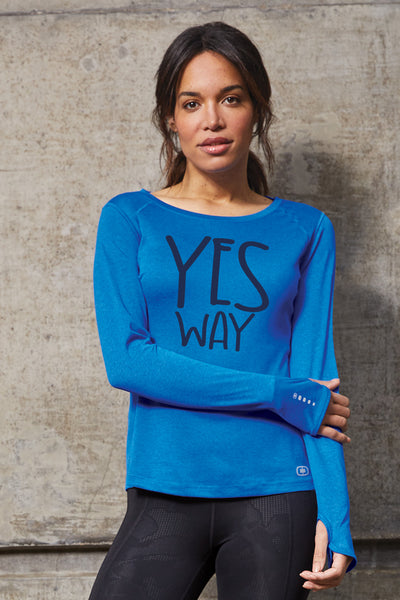 OGIO® ENDURANCE Ladies Long Sleeve Pulse Crew - electric-blue