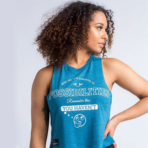When You Have Exhausted All Possibilities Racerback Crop Tank - Rare Breed Apparel