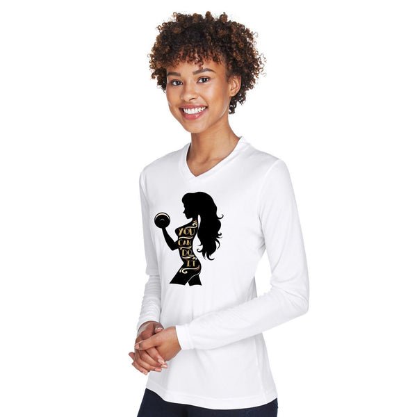 Ladies' Performance V-Neck Long-Sleeve T‑Shirt - Rare Breed Apparel