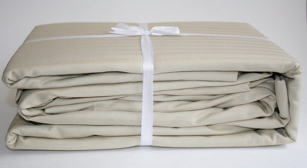 Stripe Sateen Sheet Set - Beige