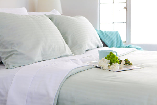 Stripe Sateen Duvet Cover Set - Sea Foam
