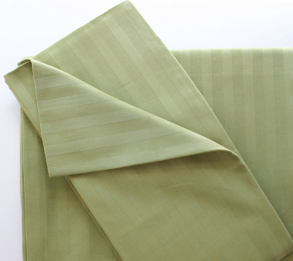 Stripe Sateen Duvet Cover Set - Olive Green