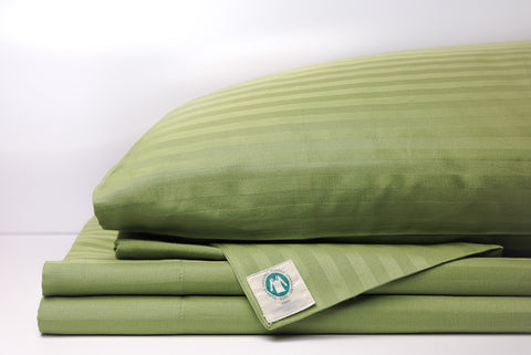 Stripe Sateen Sheet Set - Olive Green