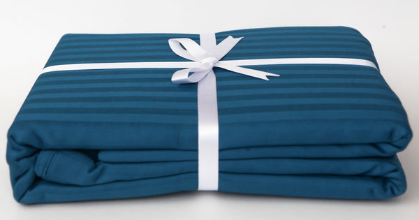 Stripe Sateen Duvet Cover Set - Moroccan Blue