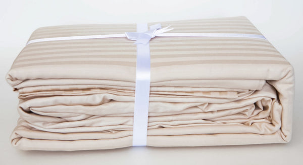 Stripe Sateen Sheet Set - Lovely Ecru