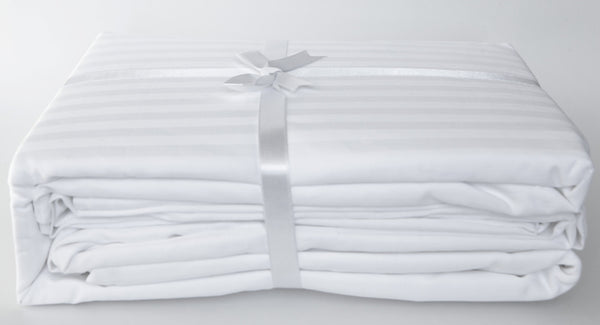 Stripe Sateen Sheet Set - Snow White