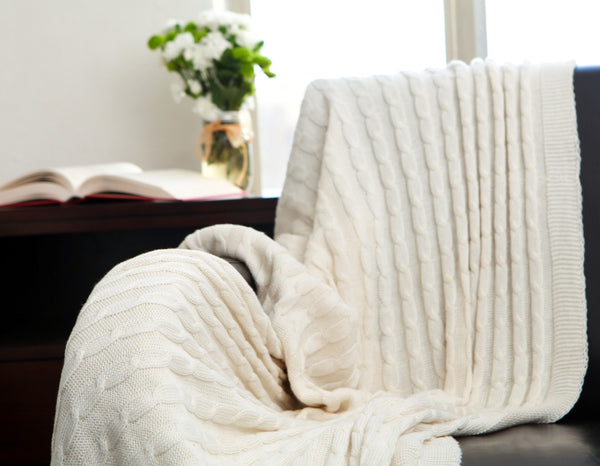 Cable Knit Throw - Creamy White