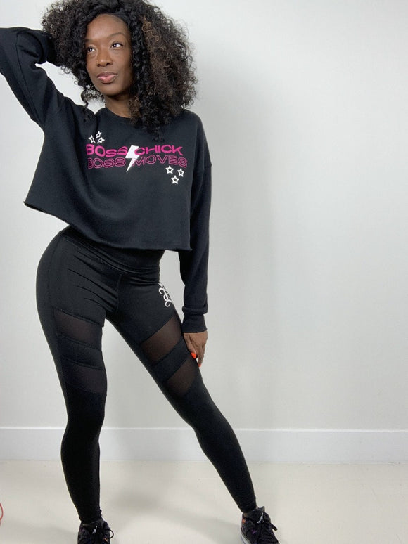 Boss Chick, Boss Moves Cropped Fleece Crew