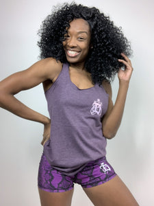 """Classic B for Boss Chick"" Tri-blend Purple Vintage Racerback"