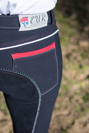 Breeches navy-red-white EUR Equestrian